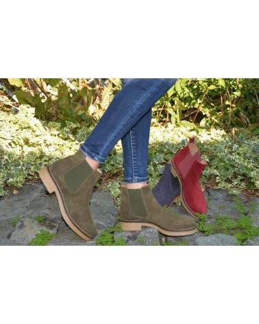 Boots kaki en daim femme EXIT
