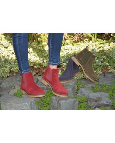 Boots bordeaux en daim femme EXIT