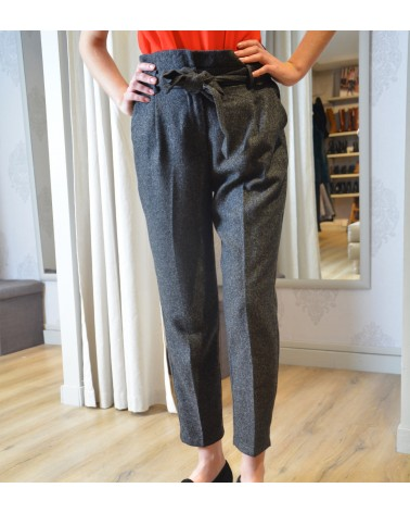 Pantalon gris chiné taille haute Y'COO