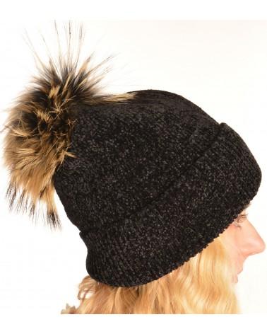 Bonnet noir pompon vraie fourrure