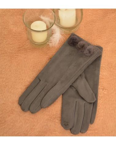 Gants gris foncé en suédine et pompons.