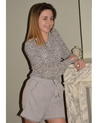Chemise femme à imprimés noir MAJOLICA